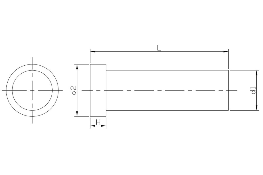 Drawing of Metric ejector pins cyl. head DIN1530 A nitrided